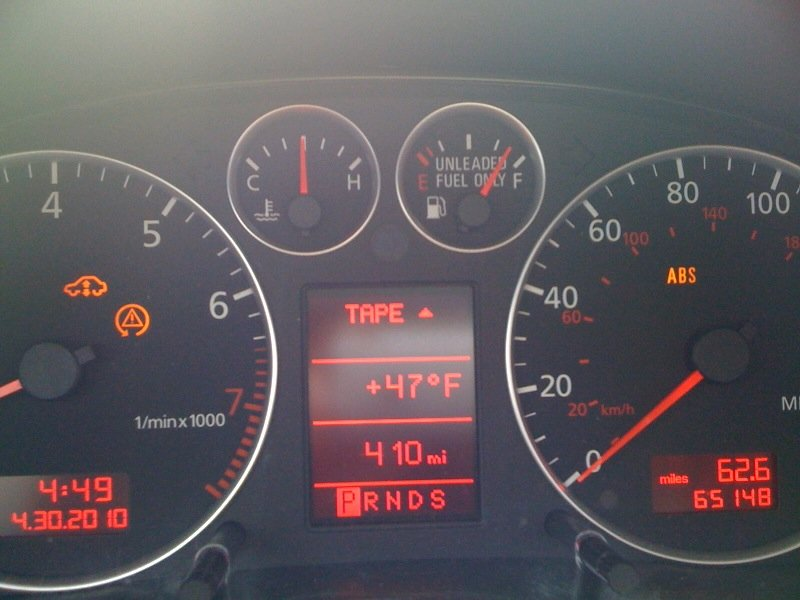 Warning Lights On Instrument Cluster Audi Forums