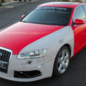 Audi a6 c6 k6 fenders ill industries widebody inspired front end with vented fenders and intergrated eyelids.